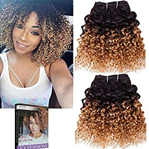 Emmet 2pcs/lot 100g Short Wave 8Inch Brazilian Kinky Curly Human Hair Extension, with Hair Care Ebook (1B/27)