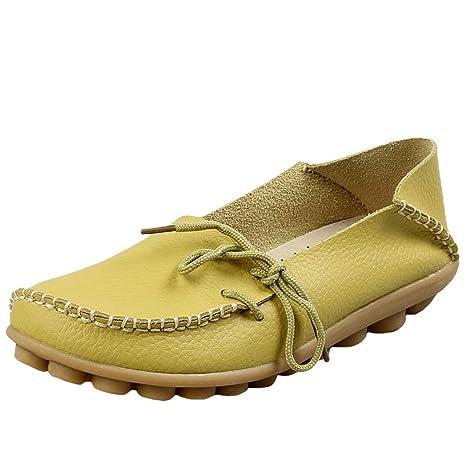 ZHRUI Mocasines de Cuero de Confort para el Trabajo para Mujer Mocasines Planos Zapatillas (Color
