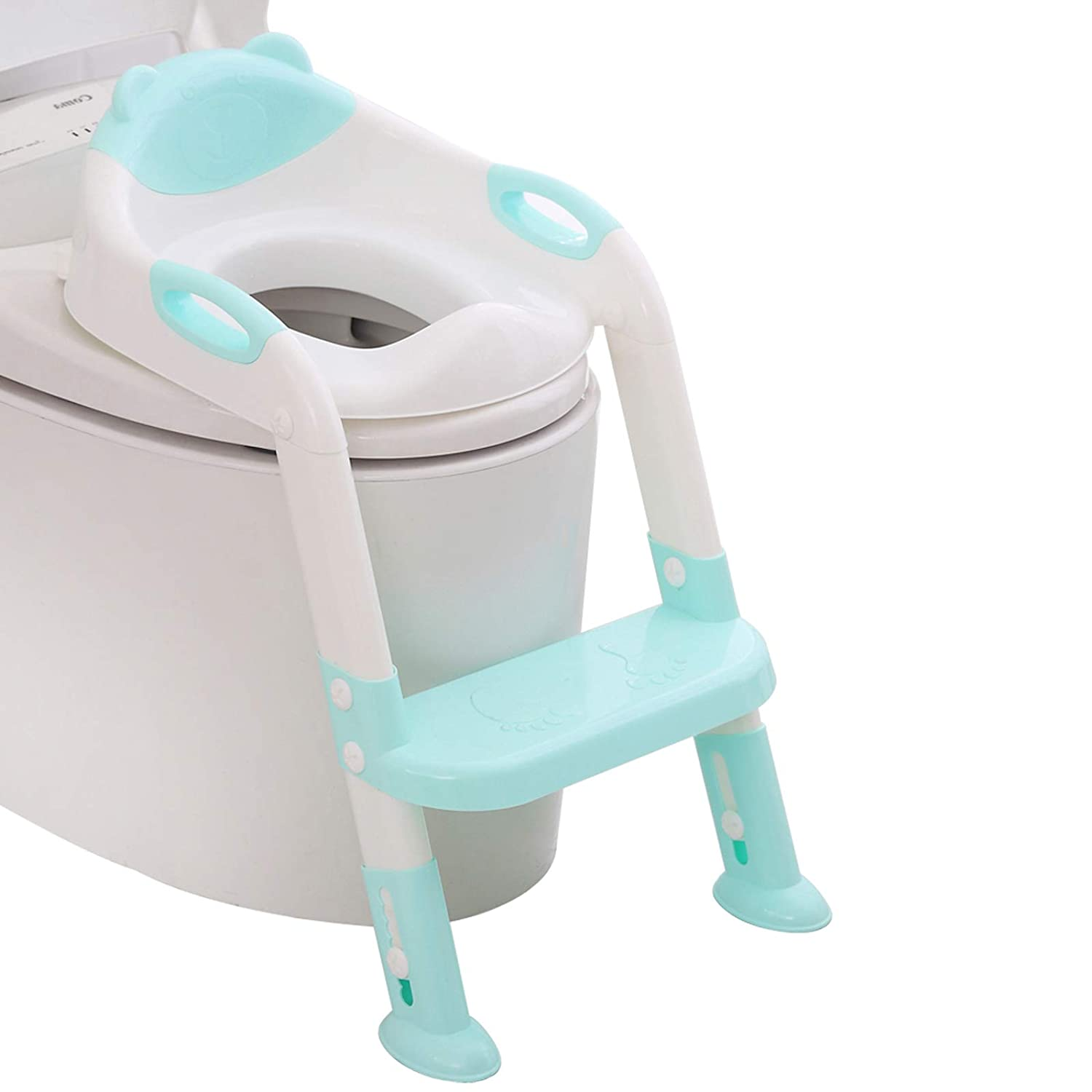 Greensen Childrens Toilet Seat with Stairs Toilet Seat Toilet Trainer Childrens Toilet Seat Foldable Potty Adjustable Training Seat with PU Cushion and Handles Potty for Children