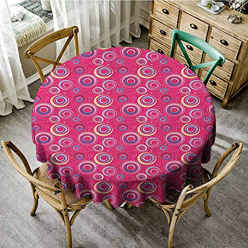 """Rank-T Round Tablecloth for Umbrella Table 67"""" Inch Round Funky,Abstract Pattern with Big and Small Circles Dots Retro Modern Artful Design Pink Blue Yellow Great for,Family & More"""