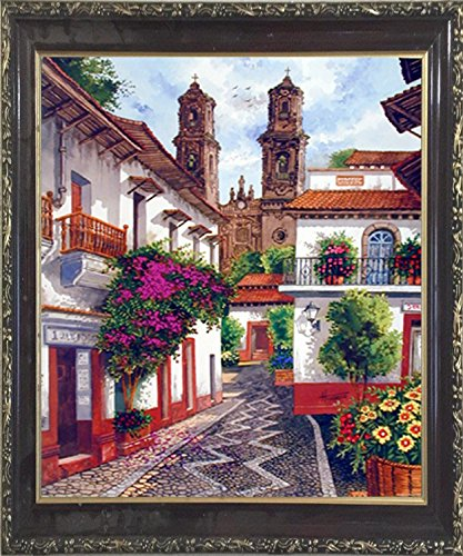 Old Mexico City Horacio Robles Jr Wall Decor Mahogany Framed Picture Art Print (20x24)