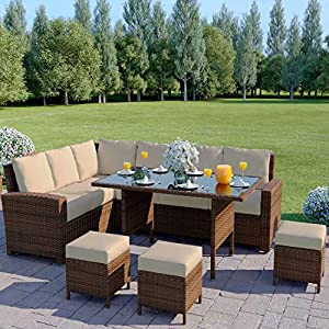 Veggo Outdoor Brown Rattan 9 Seater Corner Dining Sofa Set