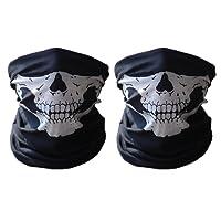 ECOMBOS 2pcs Multifonction Tour de Cou Cagoule Microfibre Crâne Chapeaux Tube Masque Visage