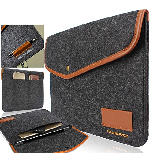 Macbook Air & Pro Retina 13 Inch Case, Yellow-Price Ultrabook Netbook Bag Envelope Case Cover Sleeve Carrying Protector Case Bag with Card Slot / Pocket, Dark Grey