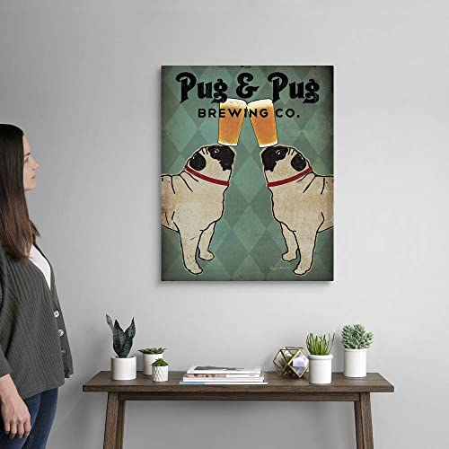 Pug and Pug Brewing Canvas Wall Art Print