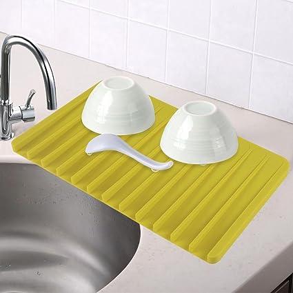 Topeakmart Kitchen Dish Drying Mat Silicone Drying Mat Self Draining Sloped  Slanted Trivet Dish Glassware,14.8 x 8.1 x 0.5\'\' (LxWxH) Green