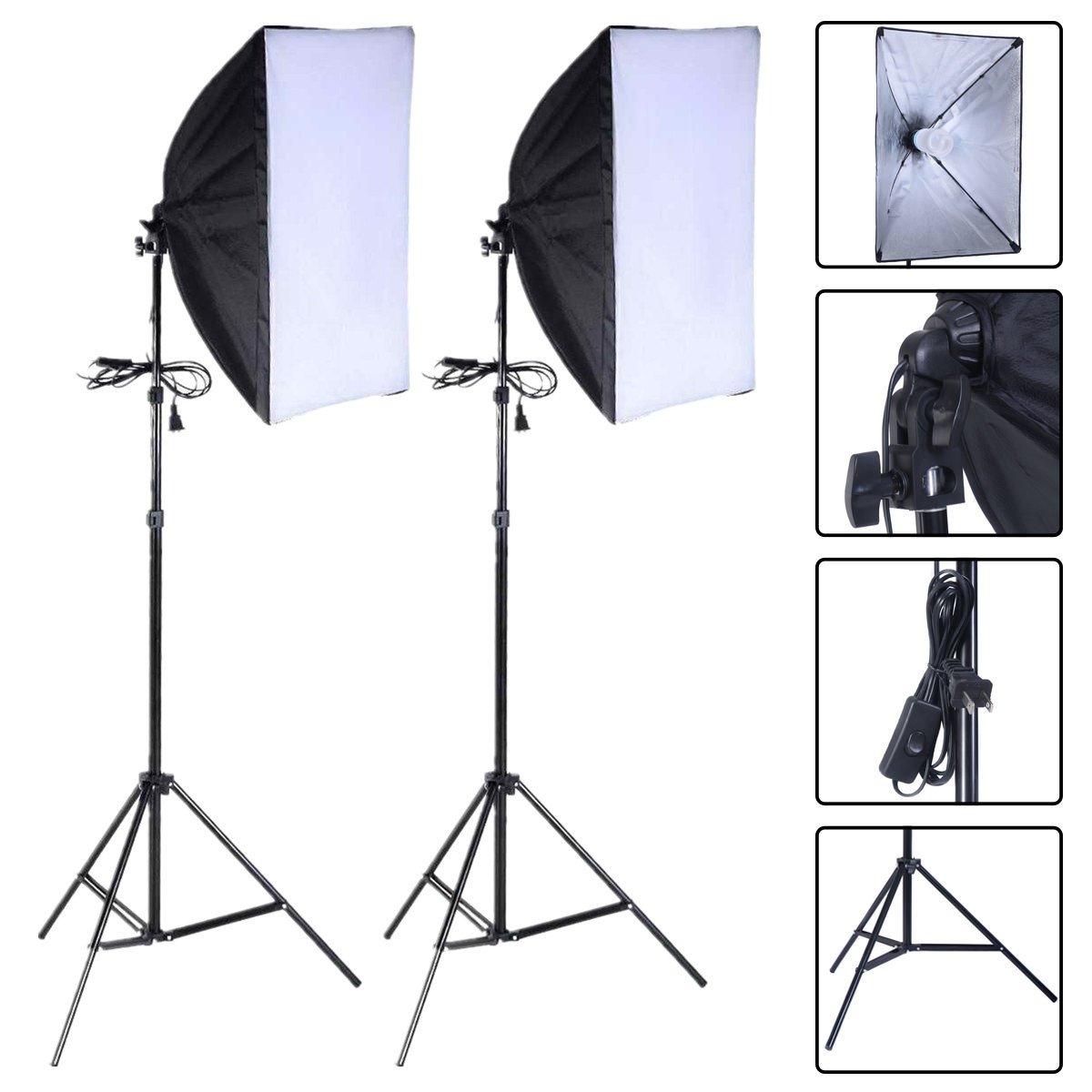 Safstar 写真撮影用ソフトボックス照明キット 24インチ x 16インチ ソケットライト 写真 ポートレート スタジオ照明ディフューザー ソフトボックス機器 2個セット With 2 Bulbs  B01MUDY244