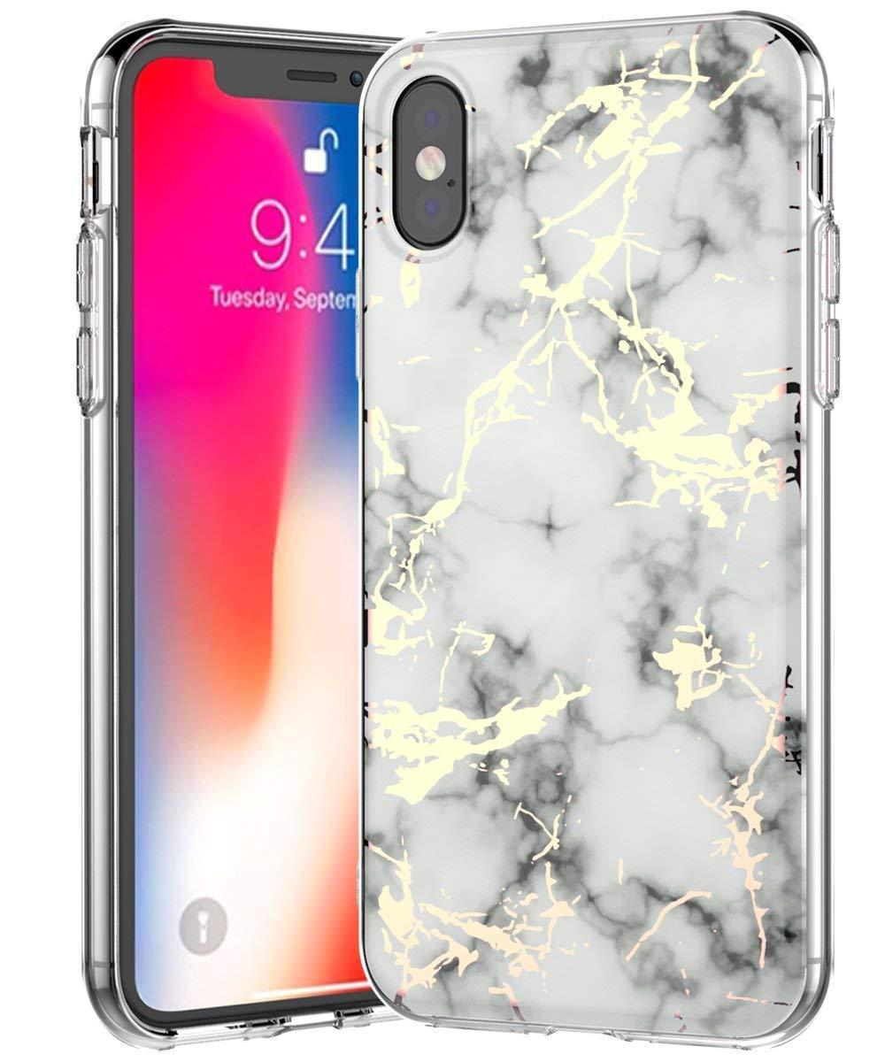 BSLVWG iPhone XS Max Coque, ultraplat, marbre Motif Pierre arrière Rigide Hybride TPU Souple Bords surélevés Fin Coque de Protection Coque antichocs pour iPhone XS Max 16,5cm