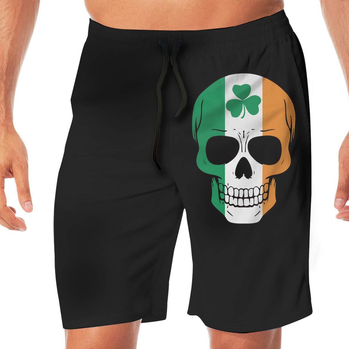 YGE.I.L25 Men Bathing Suit Irish Skull St Patricks Day Lightweight Beach Board Short Adults Boys