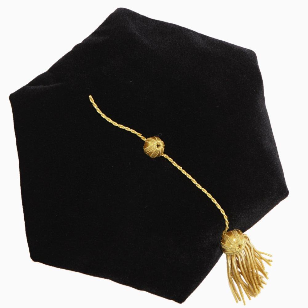 lescapsgown Unisex Doctoral Graduation Tam with Gold Bullion Tassel, Adjustable, 6 Sided Black
