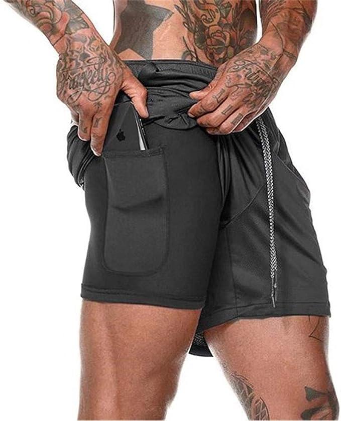 Ogeenier Herren 2 in 1 Sport Shorts Schnell Trocknend Kurze Hosen Sporthose Laufshorts Trainingsshorts mit Taschen