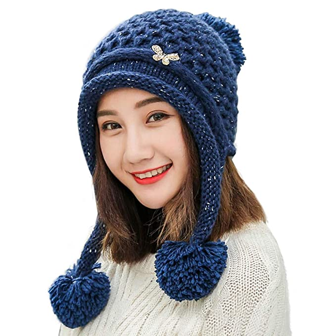 9985bf9980967 HUAMULAN Women Fleece Lining Beanie Hat Thick Ski Ear Flaps Winter Caps  Dual Layer Pompoms