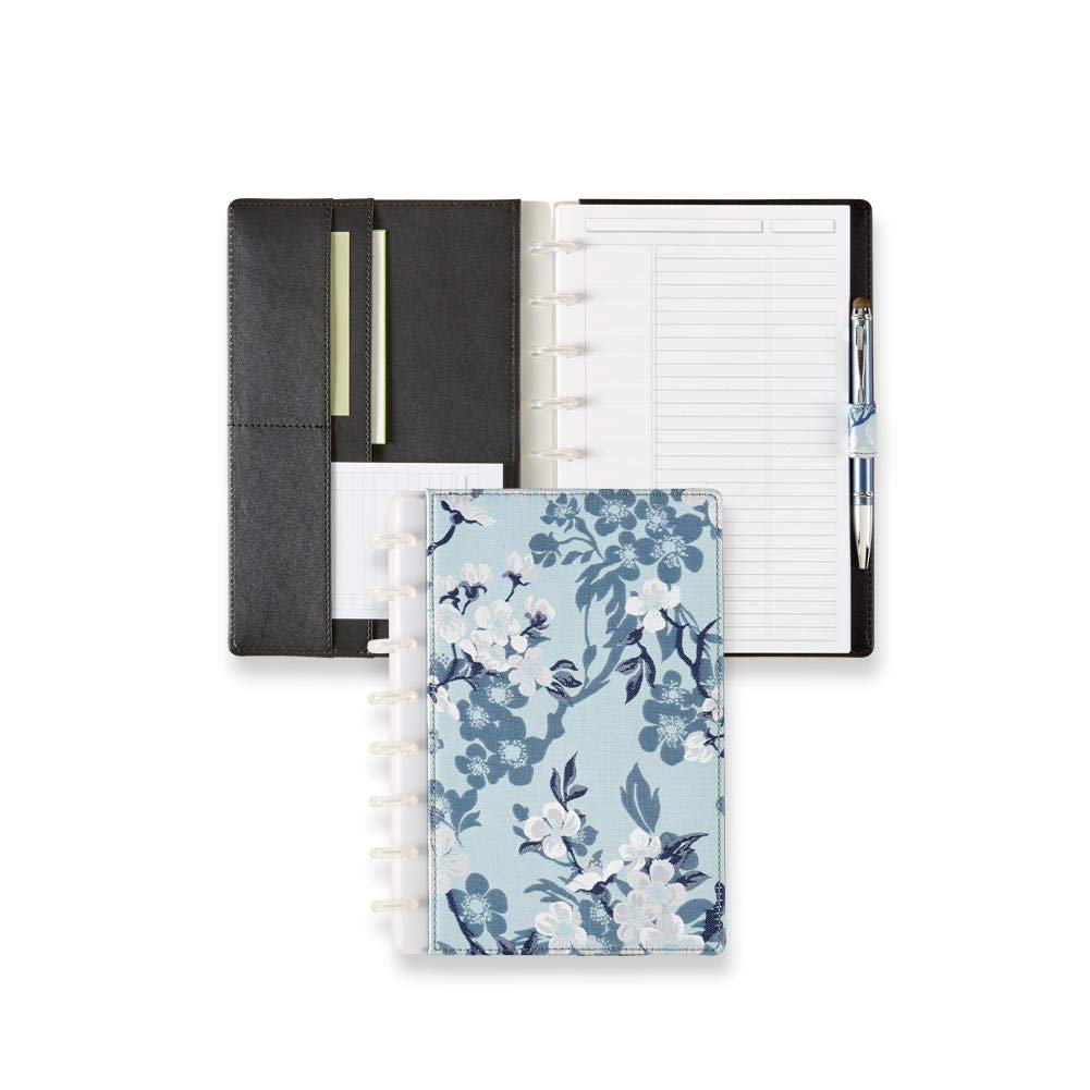 Levenger Circa Blue Magnolia Foldover Notebook - Blue floral Discbound Notebook cover for women, 60 ruled 90-gsm paper, 8-Discs, 7'' x 8.6'' | Levenger (ADS10265) - Junior by Levenger (Image #1)