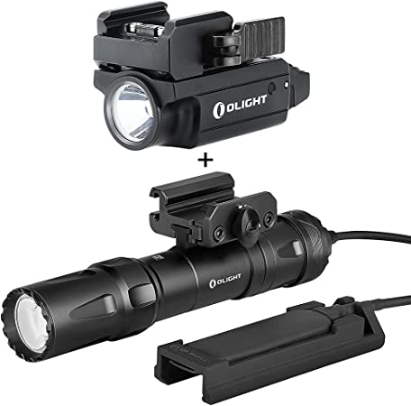 OLIGHT PL-Mini 2 Valkyrie 600 Lumens Magnetic USB Rechargeable Compact Weaponlight with Adjustable Rail, Bundled Odin 2000 Lumens Rechargeable Picatinny Rail Mounted Tactical Flashlight