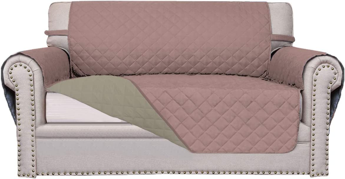 Easy-Going Sofa Slipcover Reversible Sofa Cover Furniture Protector Couch Cover Water Resistant Elastic Straps PetsKidsChildrenDogCat(Loveseat,Pink/Beige)