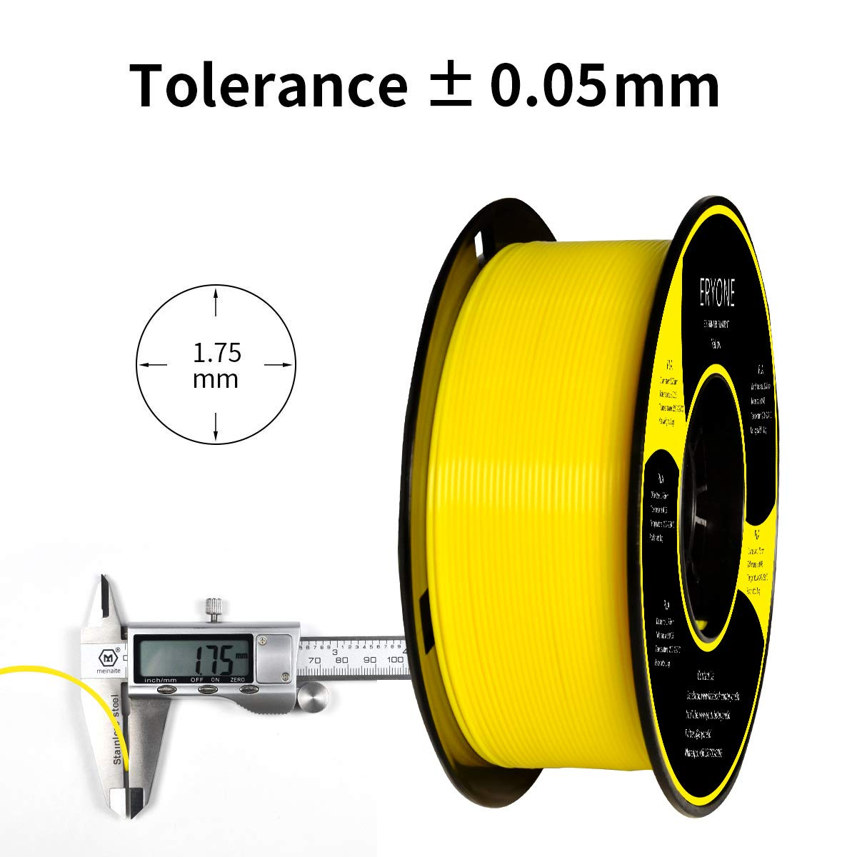 Eryone PLA Filamento de PLA para impresi/ón 3D Filamento PLA 1.75mm 1kg 1 Spool,Blanco