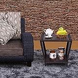 Costway Rattan Coffee Table Wicker Side End Table Sofa W/Plastic Wood Top Furniture Patio Garden Outdoor& Indoor