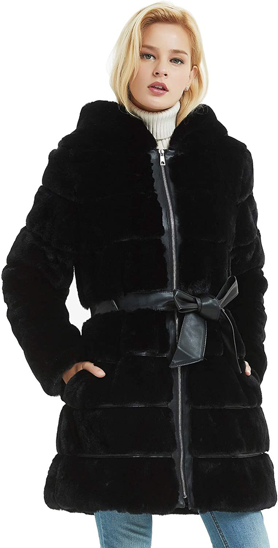 Bellivera Abrigo para Invierno de Piel Sintética con Capucha y 2 Bolsillos, 2 Colores (Negro y Rosa), Abrigo de Pakar con Cinturón
