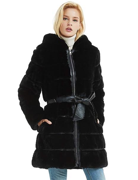Giacca da Donna 2020 Nera Piumino Cappotto in Eco Pelliccia con Cappuccio Maniche Lunghe Giacca Trapuntata Per L'inverno
