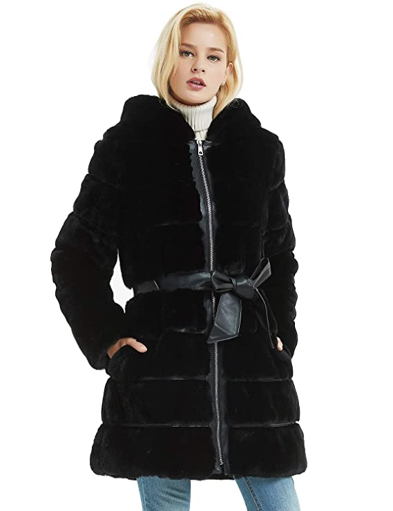 Bellivera Abrigo para Invierno de Piel Sintética con Capucha y 2 Bolsillos,  (Negro ), Abrigo de Pakar con Cinturón.