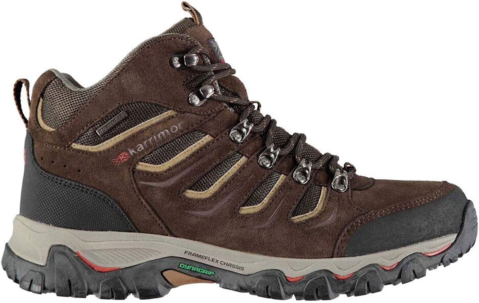 Mens Karrimor Mount Mid Walking Hiking Brown Leather Weathertite Lace Up Boots