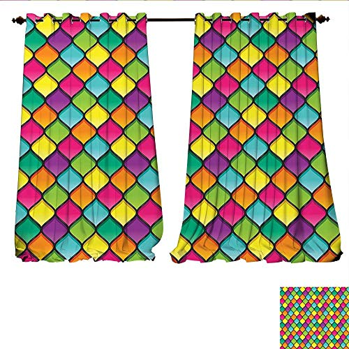 arkening Wide Curtains Stained Glass Inspired Pattern in Lively Colors and Black Partitions Waves Curves Customized Curtains W108 x L84 Multicolor ()