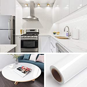 """Livelynine Shiny White Wall Paper Self Adhesive 15.8""""x197"""" White Wallpaper Stick and Peel Adhesive Paper Bathroom Counter Kitchen Cabinet Shelf Liners"""