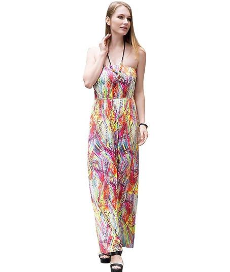 NiSeng Damen Sommerkleid Strandkleid Ärmellos Bedruckt Bandeau Lang Kleid S