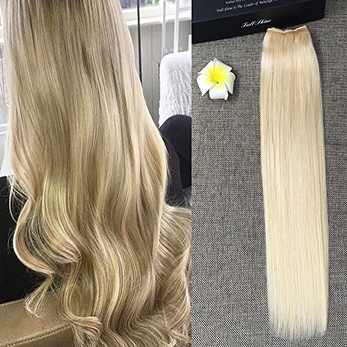Beauty : Full Shine 18inch Halo Remy Human Hair Hairpieces 80g Flip Hair Extensions Straight Hidden Hair Extensions Color #613 Blonde