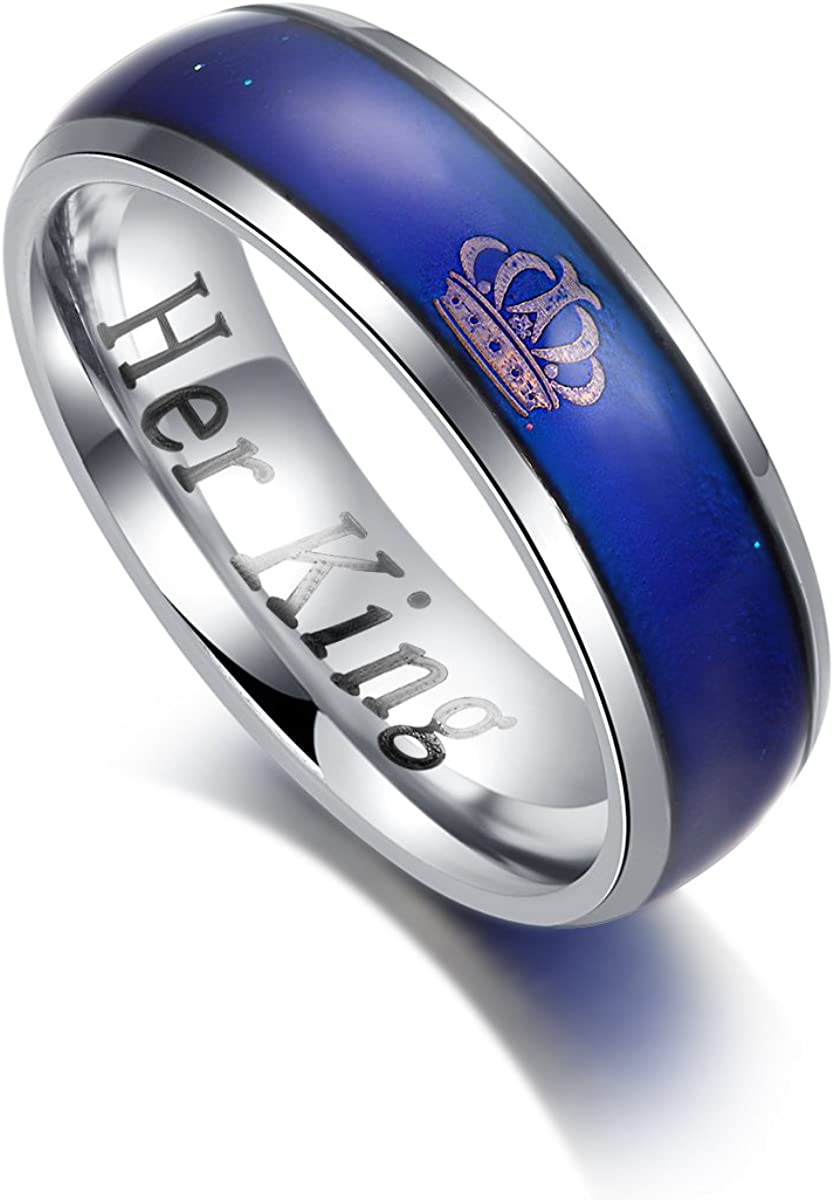 KAIYUFU Jewelers Her King His Queen Rings Imperial Crown Stainless Steel Mood Ring Changing Color Romantic Matching Women Men Wedding Band Gifts