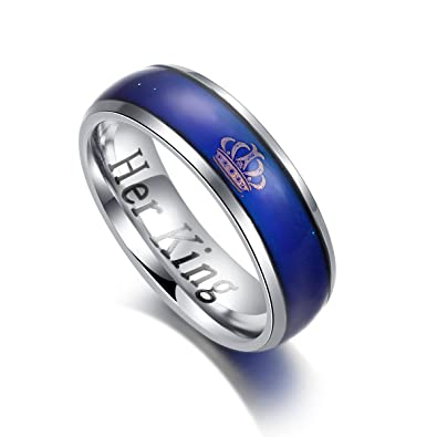 daeb942050 KAIYUFU Jewelers Her King His Queen Rings Imperial Crown Stainless Steel  Mood Ring Changing Color Romantic