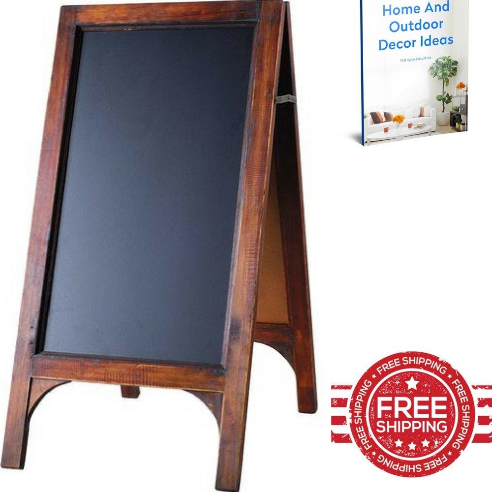 A Frame Chalkboard Vintage Wood Framed Black Rustic Large Picture Restaurant Labels Outdoor Sidewalk Bar Pub Menu Stand Sign & Ebook by Easy2find.