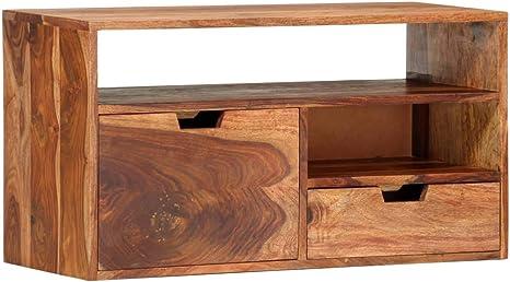 Vidaxl Sheesham Holz Massiv Tv Schrank Mit 2 Schubladen 2 Fächern Tv Möbel Lowboard Sideboard Fernsehtisch Fernsehschrank Hifi Schrank 80x30x42cm Küche Haushalt