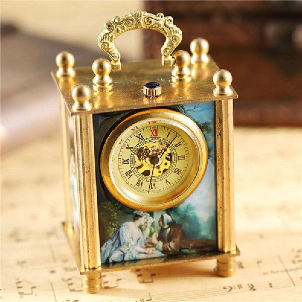 LEYUANA Reloj mecánico de Pintura única, Reloj de Soporte Vintage Antiguo Arte Pintura al óleo Cuadrado Bronce Retro decoración del hogar Reloj Reloj