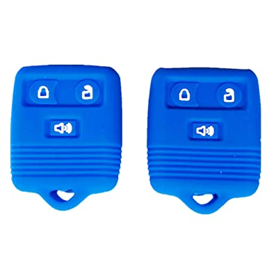 Silicone Smart Key Fob Covers Case Protector Keyless Remote Holder for Ford F150 F250 F350 Explorer Ranger Escape Expedition Blue: Car Electronics