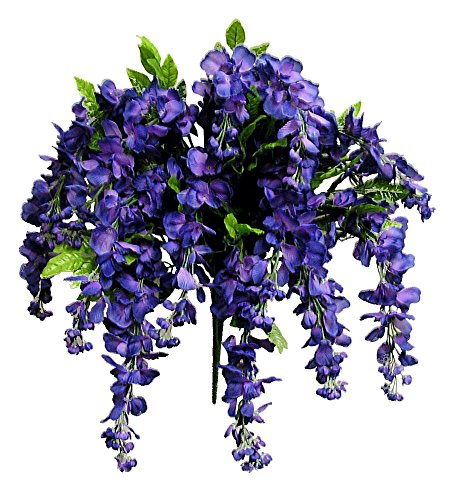 Admired By Nature Artificial Wisteria Long Hanging Bush Flowers - 15 Stems For Home, Wedding, Restaurant and Office Decoration Arrangement, Purple