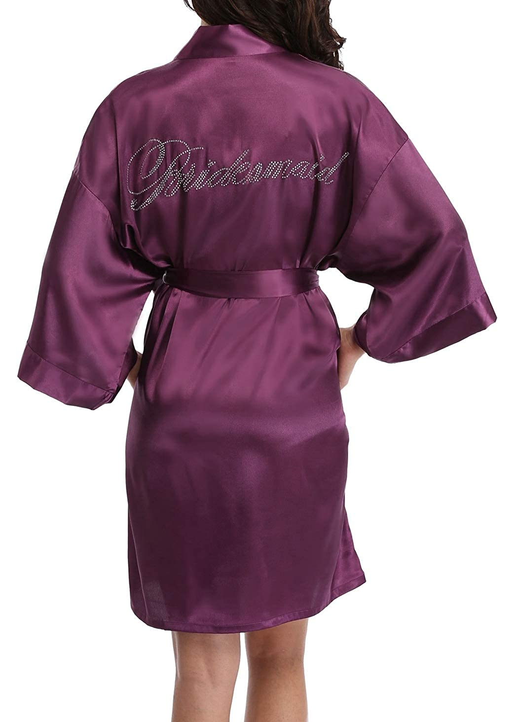 Dark Purple(bridesmaid) FADSHOW Bridal Robes Wedding Dressing Gowns with Rhinestones for Bride and Bridesmaids