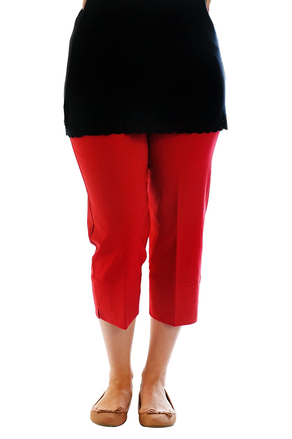 Nouvelle New Womens Trousers Ladies Plus Size Plain Capri Pants Cropped Stretch Nouvelle