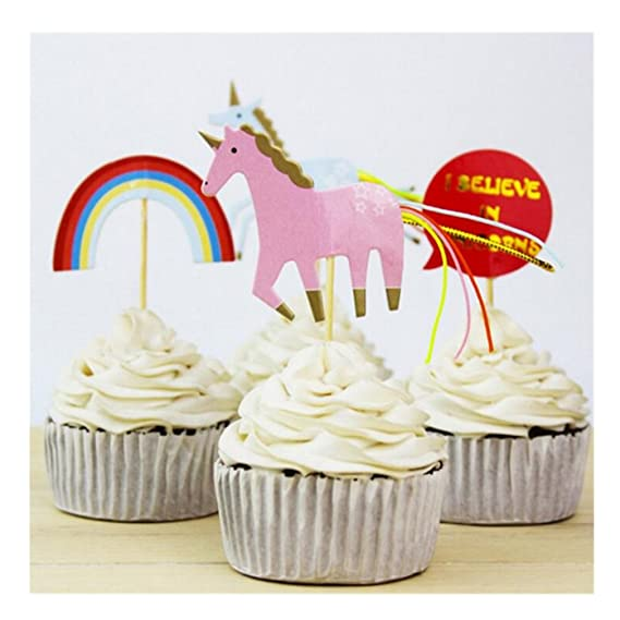 FEPITO Rainbow Happy Birthday Cake Bunting Topper And Gold Star Cupcake Toppers Picks For Kids 1st