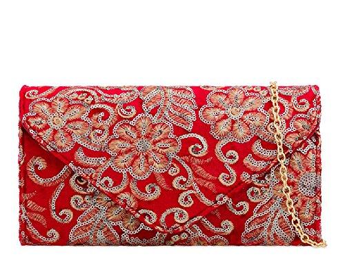 Women's Evening Ladies Bag Red Clutch Velvet Envelope Floral Handbag Faux Flower KT2182 wW8rxX8qg1