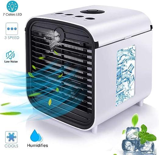 Nifogo Air Mini Cooler Aire Acondicionado Portátil - 3 en 1 Climatizador Evaporativo Frio Ventilador Humidificador Purificador de Aire, Leakproof, Nuevo Filtros (y- White): Amazon.es: Hogar