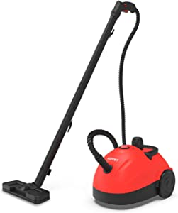 KUPPET 1500W Multi-Purpose Steam Cleaner with 13 Accessories, 1.2L Tank Household Steamer for Rolling Cleaning, Pressurized Steam Cleaning for Most Floors, Carpet, Windows, Cars, Red