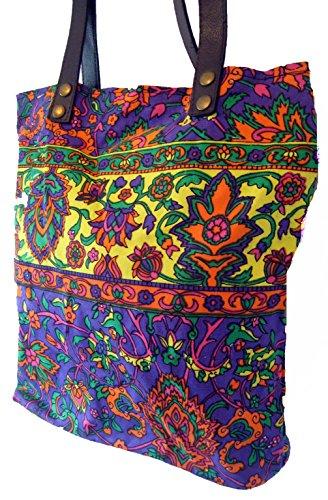 The Little Market Shop, Borsa a spalla donna Multicolore multicolore Taglia unica Purple with Yellow stripe