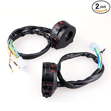 Switches Electrical uxcell 2pcs 22mm Handlebar Dia 3 Wired Motorcycle Light Contral Switch Button Connector