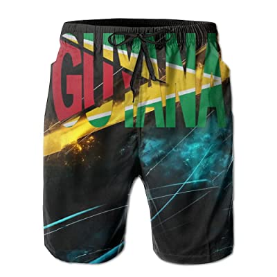 Flag of Guyana Name Logo Mens Shorts Loose Summer Swimming Trunks Running Swimming and Surfing