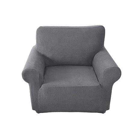 FlowersSea Fundas de sofá de Esquina de 1/2/3 plazas, de fácil Ajuste, de poliéster, Elastano, elástico, Funda de sofá, Gris, 1seat