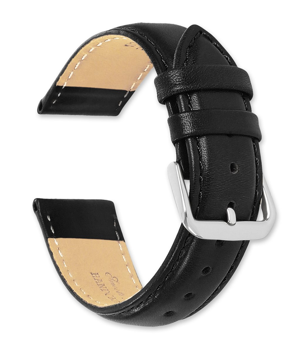 deBeer brand Smooth Leather Watch Band (Silver & Gold Buckle) - Black 18mm (Extra Long Length)