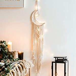 Moon Dream Catcher with LED Lights, Macrame Wall Hanging Art Woven Boho Home Decor for Kids Room Home Wedding Ornament Craft Gift