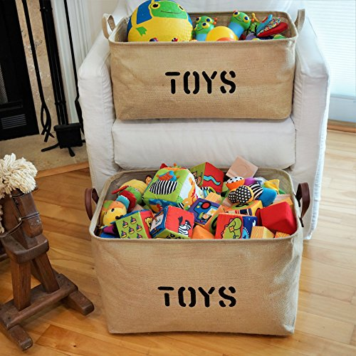 OrganizerLogic Burlap Storage Organizer Basket - Heavy Duty Storage Basket - Perfect Storage Jute Basket for Laundry, Shoes and Kids Toys - 22'' x 15'' x 14'' by OrganizerLogic (Image #1)
