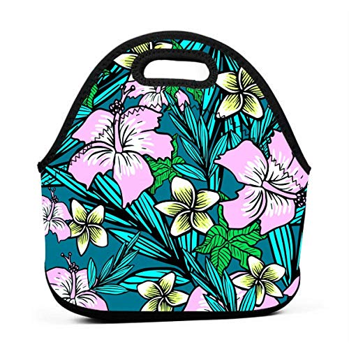 MIGAGA Neoprene Tropical Flowers Hibiscus Portable Fashion Lunch Bag Carry Case Tote with Zipper Strap Box Container Bags Picnic Outdoor Travel Fashionable Handbag Pouch for Women Men Kids Girls